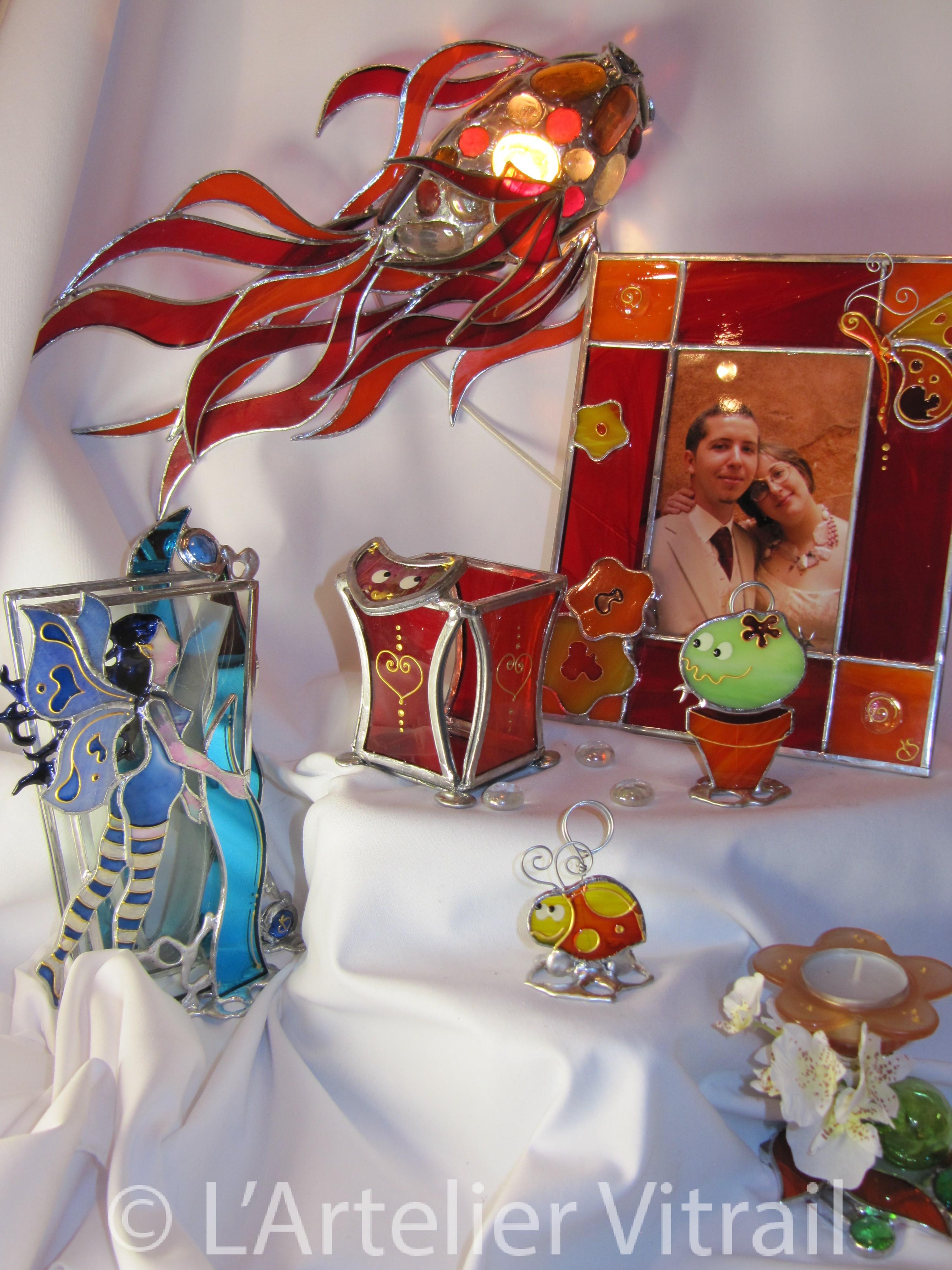D corations objets l 39 art elier vitraill 39 art elier vitrail for Vitrail decoration